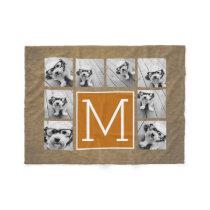 Photo Collage Monogram - Rustic Kraft and Orange Fleece Blanket