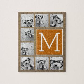 Photo Collage Monogram - Rustic Kraft and Orange Jigsaw Puzzle