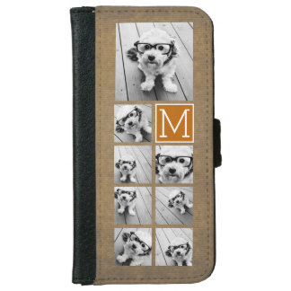 Photo Collage Monogram - Rustic Kraft and Orange iPhone 6 Wallet Case