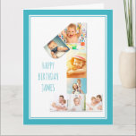 """Photo Collage Number 1 Boy's First Birthday Card<br><div class=""""desc"""">Unique and personalized 1st birthday photo card for a little boy. The photo template is set up for you to add your favorite pictures to this number 1 photo collage plus an extra special photo inside. You can also add his name to the front and customize the birthday greeting inside....</div>"""