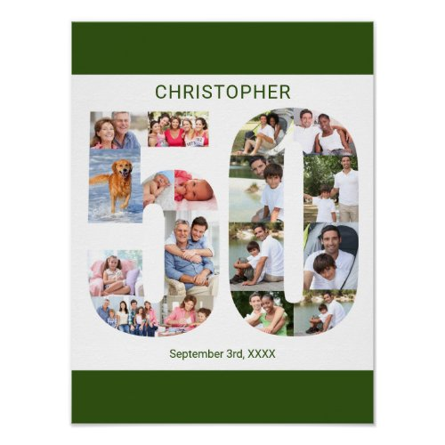 Photo Collage Number 50 Personalized 50th Birthday Poster