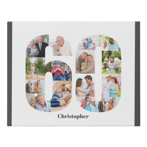 Photo Collage Number 60 Custom 60th Birthday Faux Canvas Print