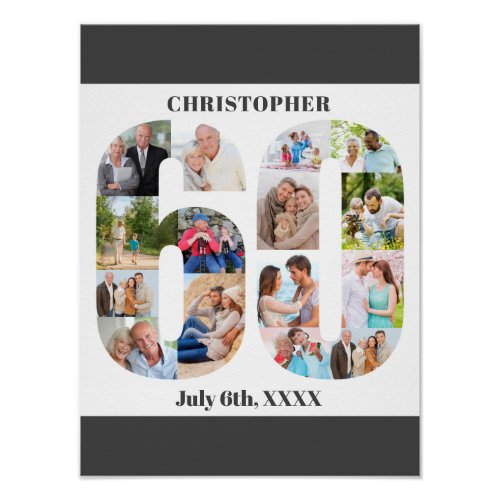 Photo Collage Number 60 Personalized 60th Birthday Poster