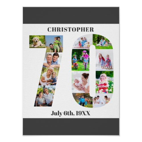 Photo Collage Number 70 Personalized 70th Birthday Poster
