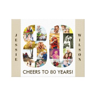 Photo Collage Number 80 Neutral 80th Birthday Canvas Print