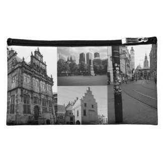 Photo collage of The Hague 1 in black and white Cosmetic Bag