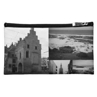 Photo collage of The Hague 2 in black and white Makeup Bag
