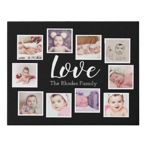 Photo Collage One of a Kind 10 Photo Family Faux Canvas Print