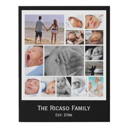 Photo Collage One of a Kind 14 Photo Family Faux Canvas Print
