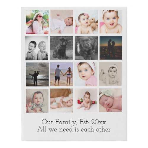 Photo Collage One of a Kind 16 Photo Family Faux Canvas Print