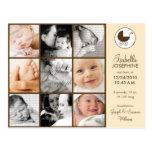 Photo Collage Peach Baby Birth Announcement Postcard