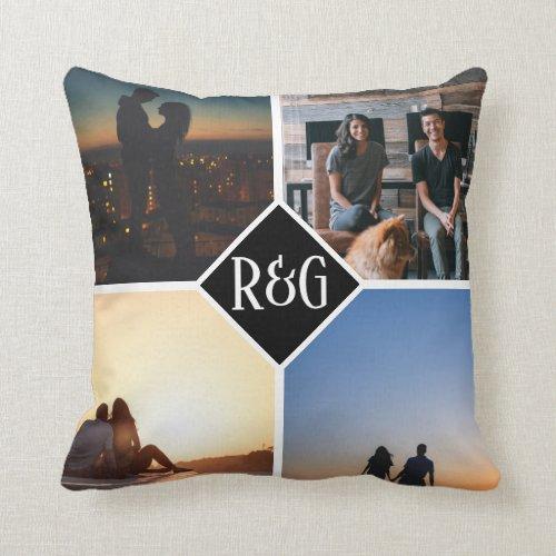 Photo Collage Personalized 4 Photo Monogram Throw Pillow