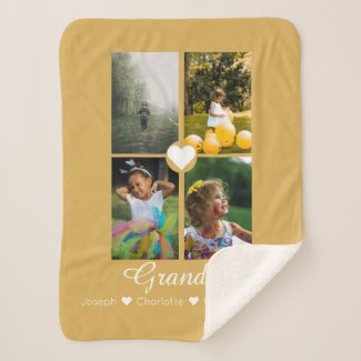 Photo Collage Personalized 4 Photos With Heart Sherpa Blanket