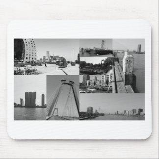 Photo collage Rotterdam 2 in black and white Mouse Pad