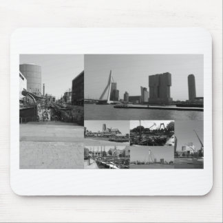 Photo collage Rotterdam 3 in black and white Mouse Pad