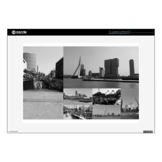 """Photo collage Rotterdam 3 in black and white Skins For 15"""" Laptops"""