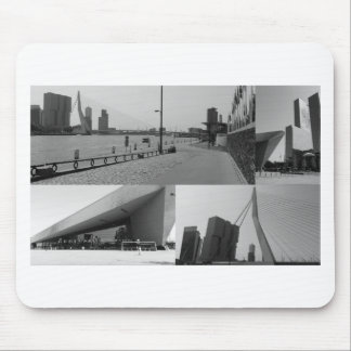 Photo collage Rotterdam 4 in black and white Mouse Pad
