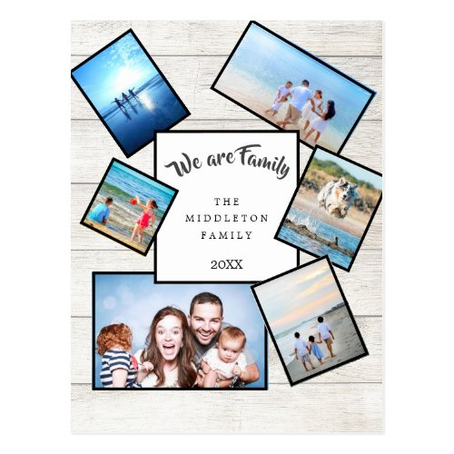 Photo Collage Rustic We are Family Postcard