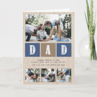 Photo Collage Rustic Wood Pattern Father's Day Card