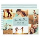 Photo Collage Save the Date Flat Card   Light Aqua