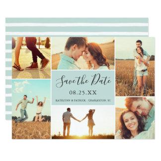Photo Collage Save the Date Flat Card | Light Aqua