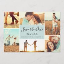 Photo Collage Save the Date Flat Card | Light Aqua