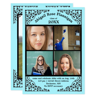 Photo Collage Teal Lace - Graduation Announcement