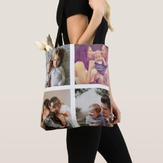 Photo Collage Unique Personalized 8 Photos Tote Bag