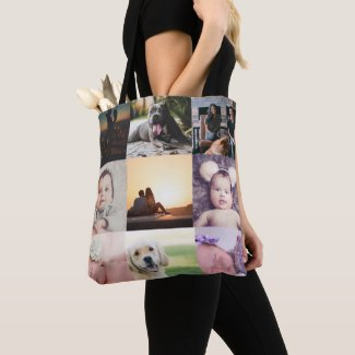 Photo Collage Unique Personalized 9 Photo Tote Bag