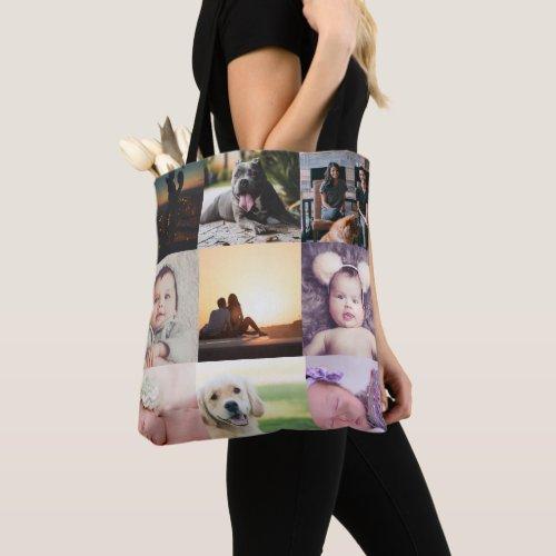 Photo Collage Unique Personalized 9 Photo Tote Bag