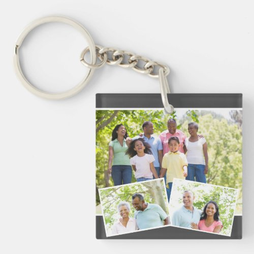 Photo Collage w 3 Family Photos _ Charcoal Grey Keychain
