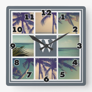Photo collage wall clock with custom name monogram