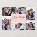 """Photo Collage Wedding Thank You Flat Card 
