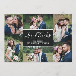 Photo Collage Wedding Thank You Flat Card | Ebony