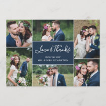 Photo Collage Wedding Thank You Flat Card | Navy
