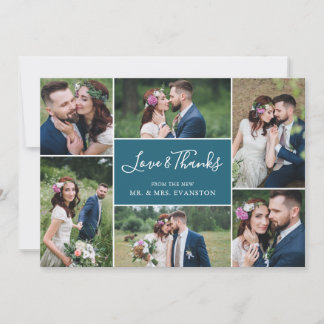 Photo Collage Wedding Thank You Flat Card | Teal