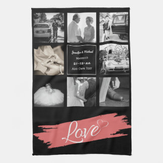 PHOTO COLLAGE Wedding Vow Renewal Anniversary Love Towel