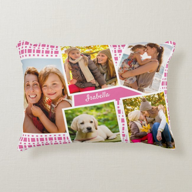 Photo Collage with 5 Pictures Pink and White Accent Pillow