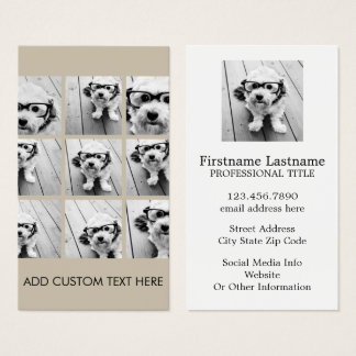 Photo Collage with 9 square photos - Taupe Business Card