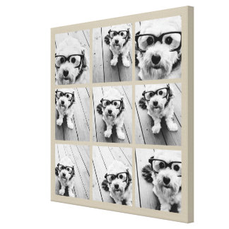 Photo Collage with 9 square photos - Taupe Canvas Print