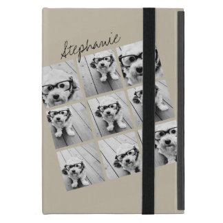 Photo Collage with 9 square photos - Taupe Cases For iPad Mini
