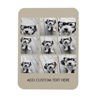 Photo Collage with 9 square photos - Taupe Rectangular Photo Magnet
