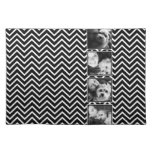 Photo Collage with Black and White Chevron Pattern Cloth Place Mat