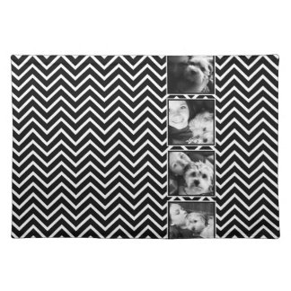 Photo Collage with Black and White Chevron Pattern Cloth Placemat