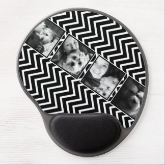 Photo Collage with Black and White Chevron Pattern Gel Mouse Pad