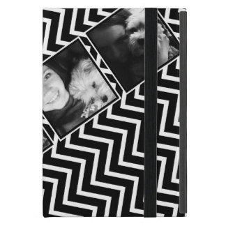 Photo Collage with Black and White Chevron Pattern iPad Mini Cover