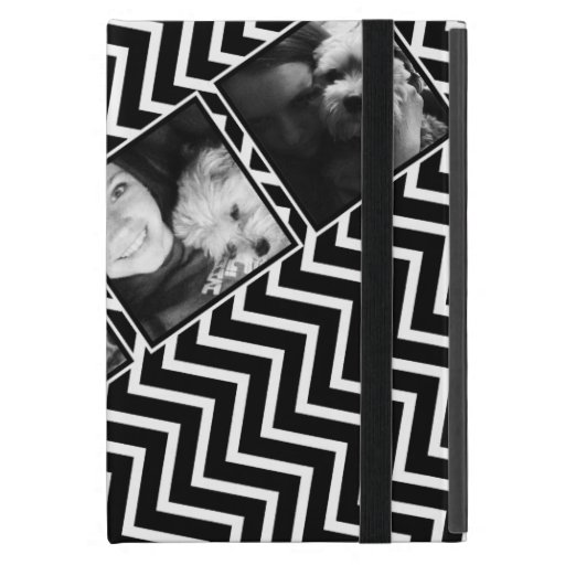 Photo Collage with Black and White Chevron Pattern iPad Mini Covers
