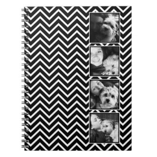 Photo Collage with Black and White Chevron Pattern Notebook
