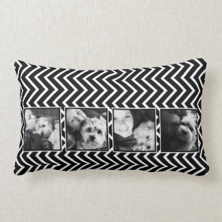 Photo Collage with Black and White Chevron Pattern Pillows
