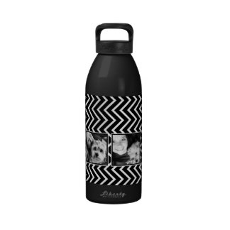 Photo Collage with Black and White Chevron Pattern Drinking Bottle
